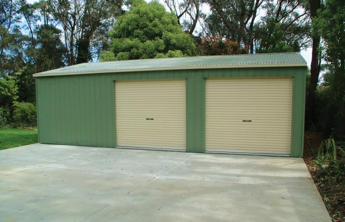 Double Garage with More Storage Mist Green with Smooth Cream trim